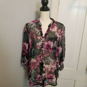 Kut From The Kloth Pink Floral Button Down Top S